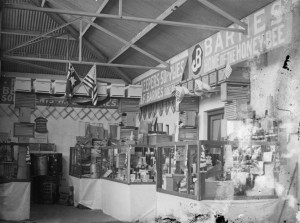 Barnes Honey had this bee keeping supplies stand at the Royal Melbourne Show. Circa 1890-1918.