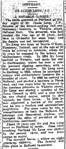 Obituary for James Long. Ballarat Star. March 6, 1916.