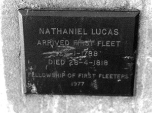 A plaque to the memory of First Fleeter, Nathaniel Lucas, at Liverpool, NSW.