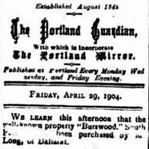 Portland Guardian. April 29, 1904.