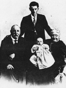 From left: Arthur Henry Long, Allan Leslie Long and Mary Jane Long (nee Wilcock), holding James Wilcock Long